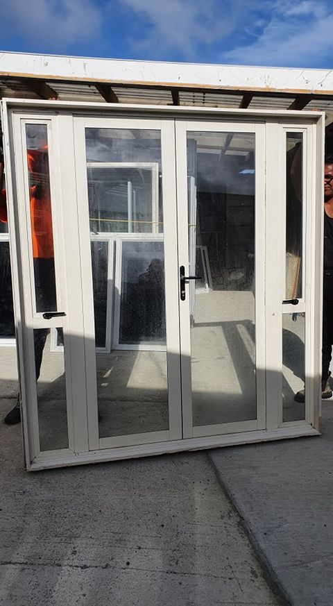 Cream French Door with opening windows 2 H x 1880 W #FDB9